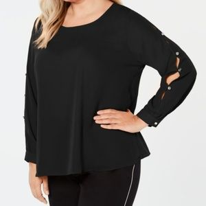 NY Collection Plus Size Embellished Cutout-Sleeve
